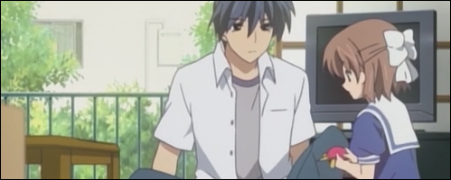 Okazaki is frowning while trying to figure out what makes Ushio so cute.